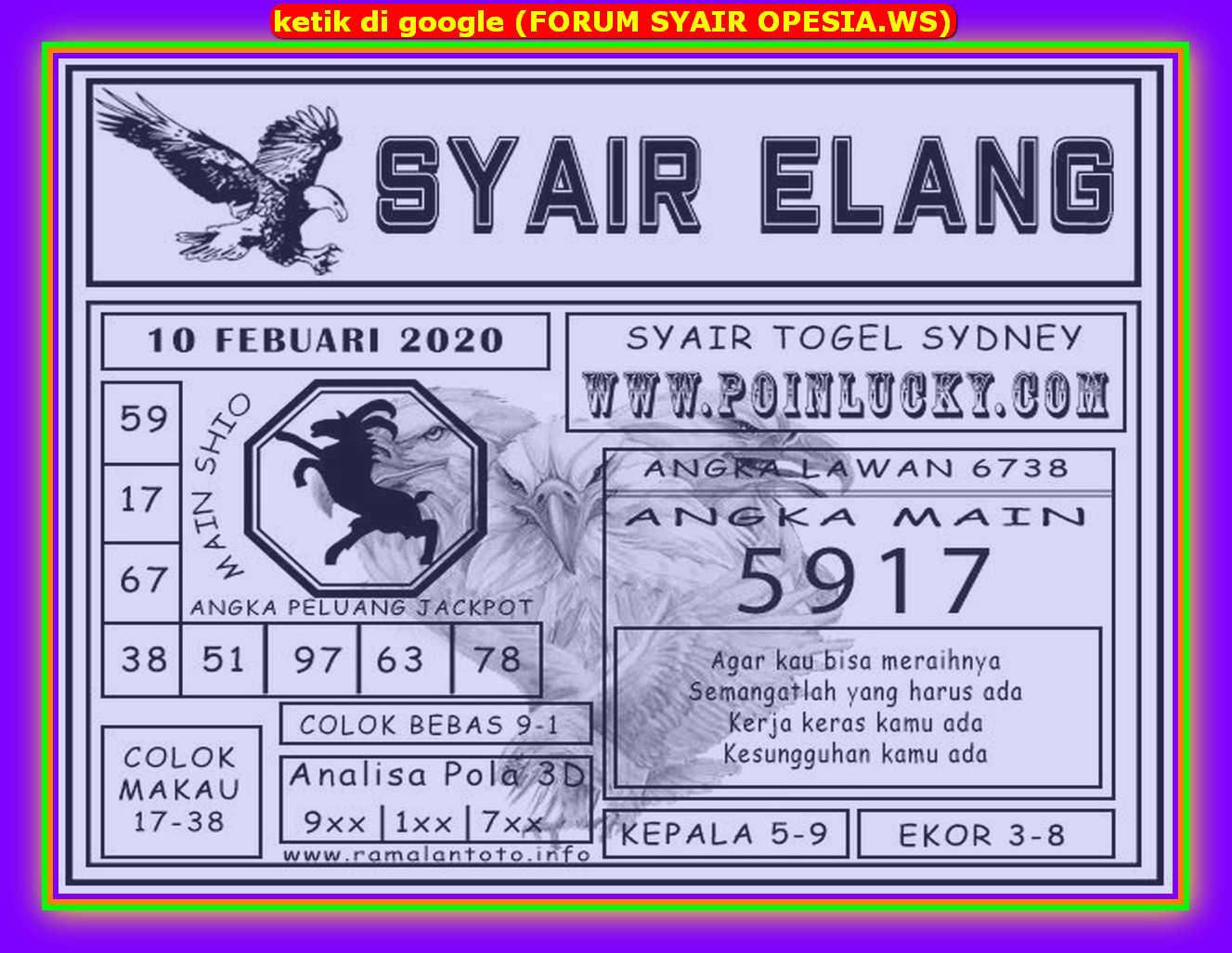 Kode syair Sydney Senin 10 Februari 2020 138