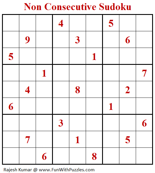 Non Consecutive Sudoku Puzzle (Fun With Sudoku #289)