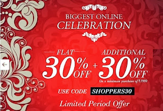 Flat 30% + additional 30% Off on Cart Value of Rs.1999 at Jabong
