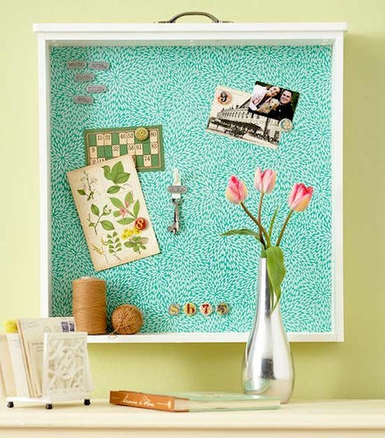 This repurposed drawers makes a great memo board to hang pictures and reminders.