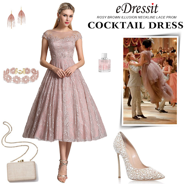 rosy brown prom cocktail dress