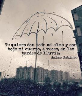 """""""Te quiero con toda mi alma y con todo mi cuerpo, a veces, en las tardes de lluvia."""" Jaime Sabines"""