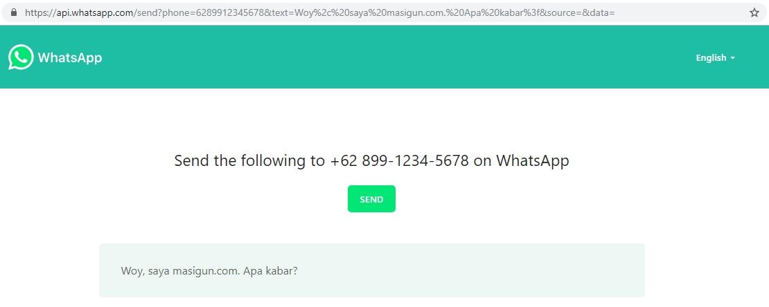 mengirim wa tanpa save nomor