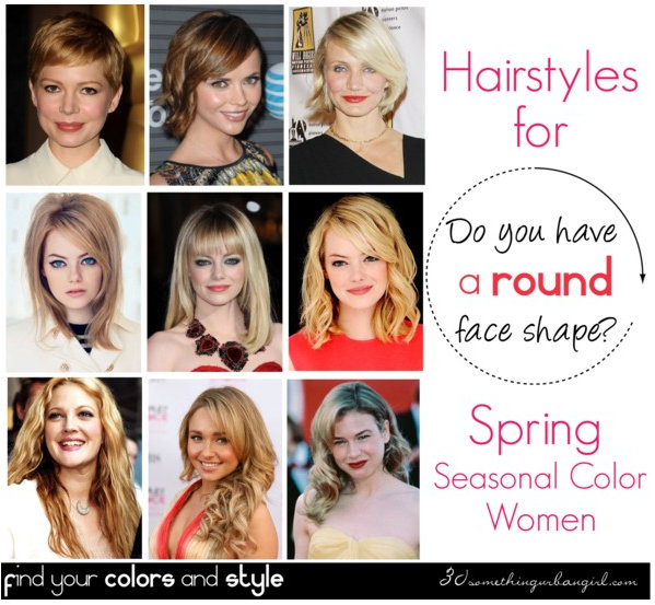 Best hairstyles for Spring seasonal color women with round face shape