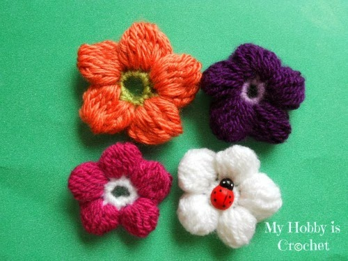 5 Petals Cluster Flower - Free Pattern with Picture Tutorial and Chart