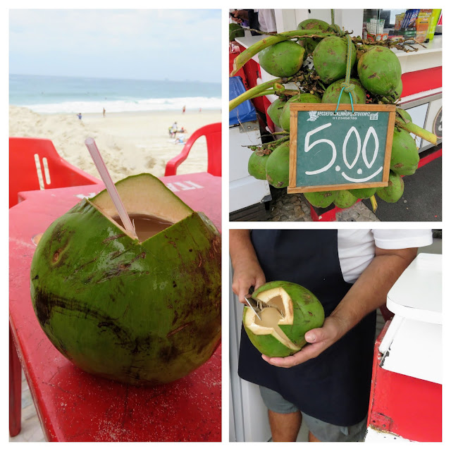 What to eat in Rio de Janeiro: freshly opened coconut on Ipanema Beach