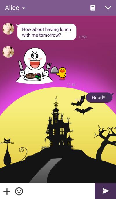 Halloween day at night scene