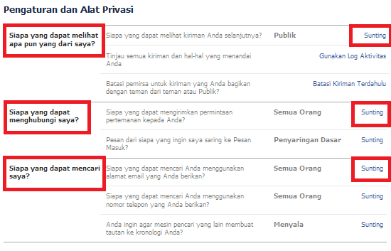 3 opsi pengaturan privasi