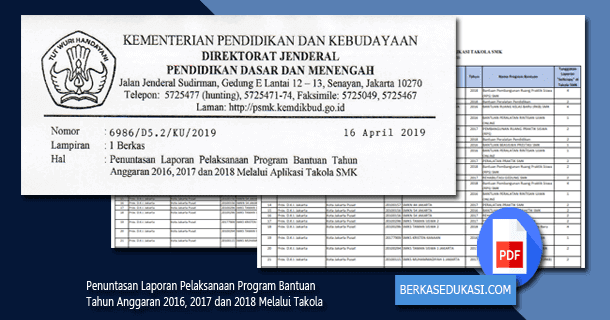 Penuntasan Laporan Pelaksanaan Program Bantuan Tahun Anggaran 2016, 2017 dan 2018 Melalui Takola