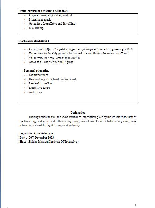 Tabular Resume Format