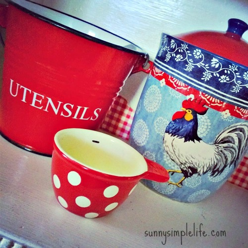 red gingham kitchen, rooster decor, farmhouse kitchen
