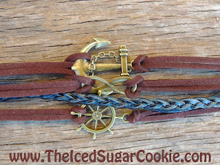 nchor Ship Steering Wheel Infinity Love Sign Leather Bracelet by The Iced Sugar Cookie