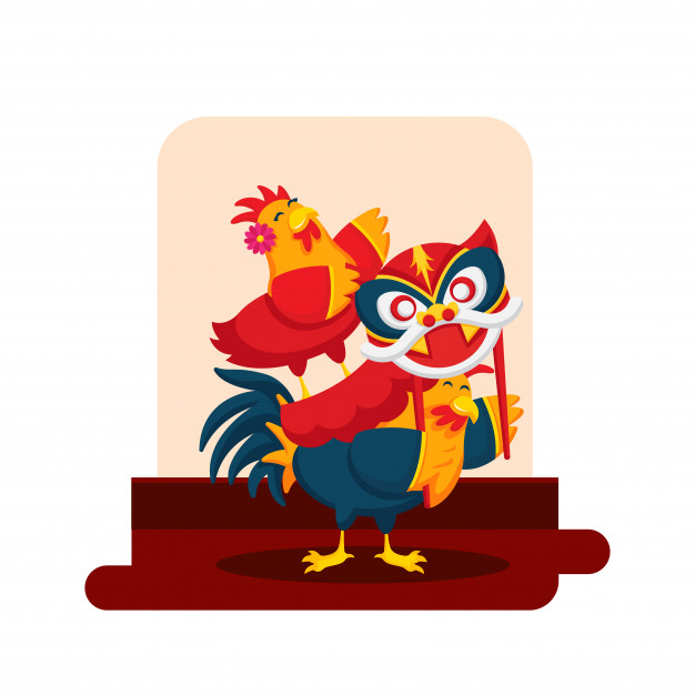 Romantic Cute Chinese New Year Rooster Couple Cartoon Character Illustration Free Vector