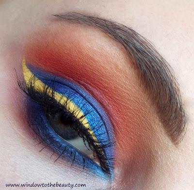 blue yelow orange makeup
