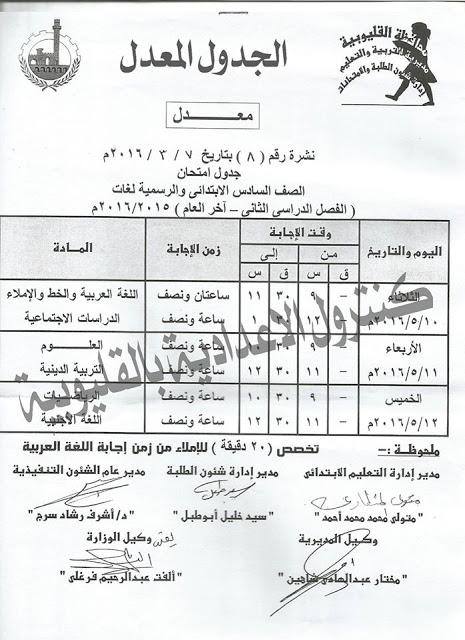 جدول الشهادة الابتدائية محافظة القليوبية 2016 الترم الثاني