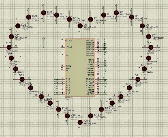 Code Led Sao Băng Trái Tim 32 Led+ Chip 8051