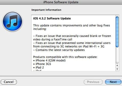 iphone software update your daily technical dose apple releases ios 4 3 2 12330