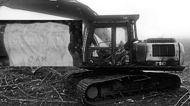 🚨Investigan quema de maquinaria en la comuna de Panguipulli