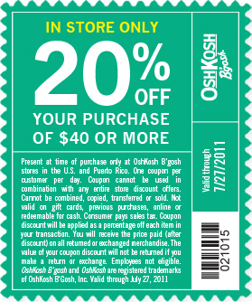 graphic relating to Osh Coupons Printable called Osh kosh bgosh coupon codes printable / My coupon genie inc