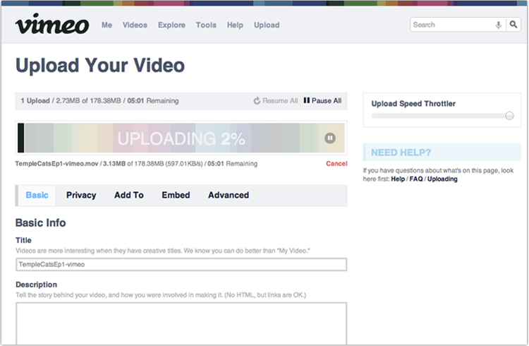 Settings while your video uploads