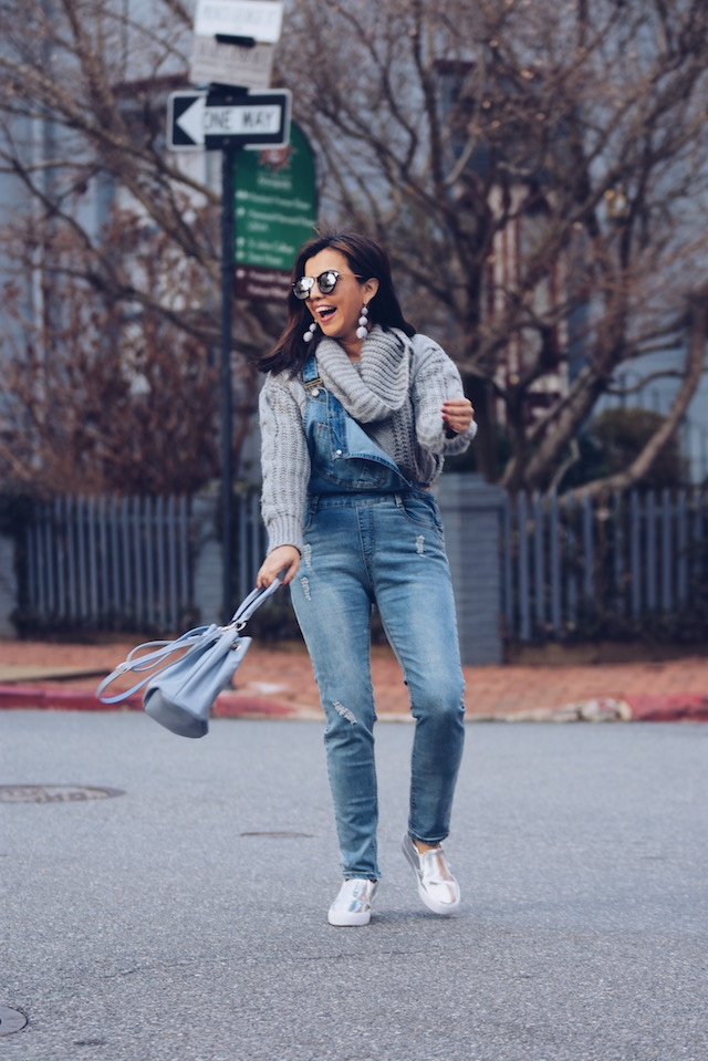 denim Overall And A Cable Sweater Outfit-street style.