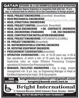 Oil and gas offshore vacancy in Qatar