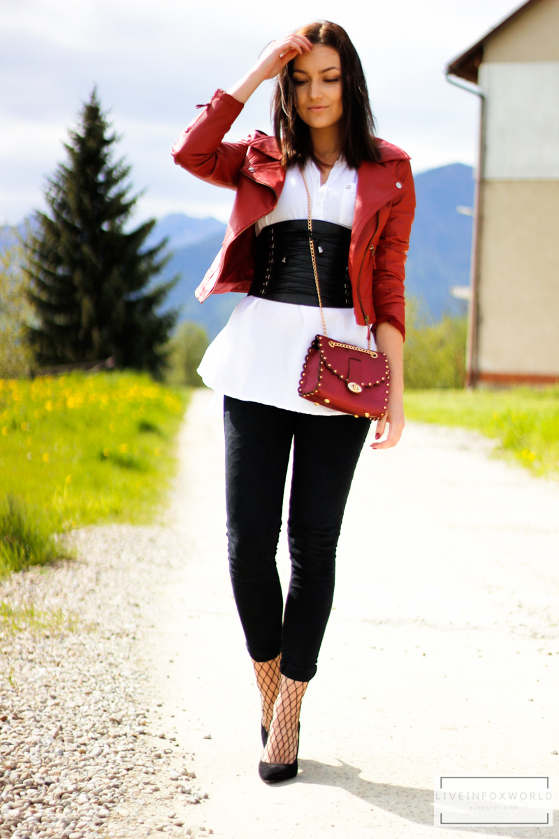 red faux leather biker jacket
