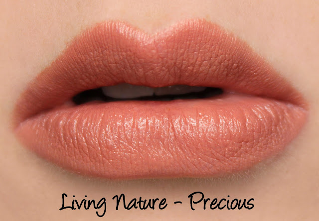 Living Nature Lipstick - Precious Swatches & Review