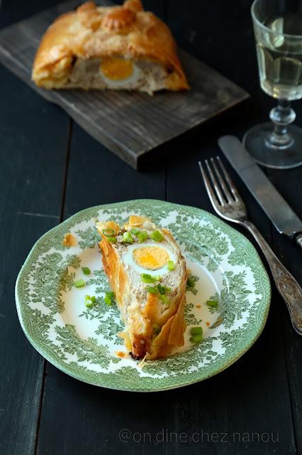 pâte feuilletée, viande , oeuf dur , dejeuner de Pâques