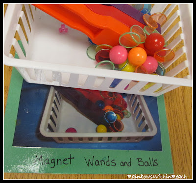 photo of: Early Childhood Shelves labeled with photo for Materials