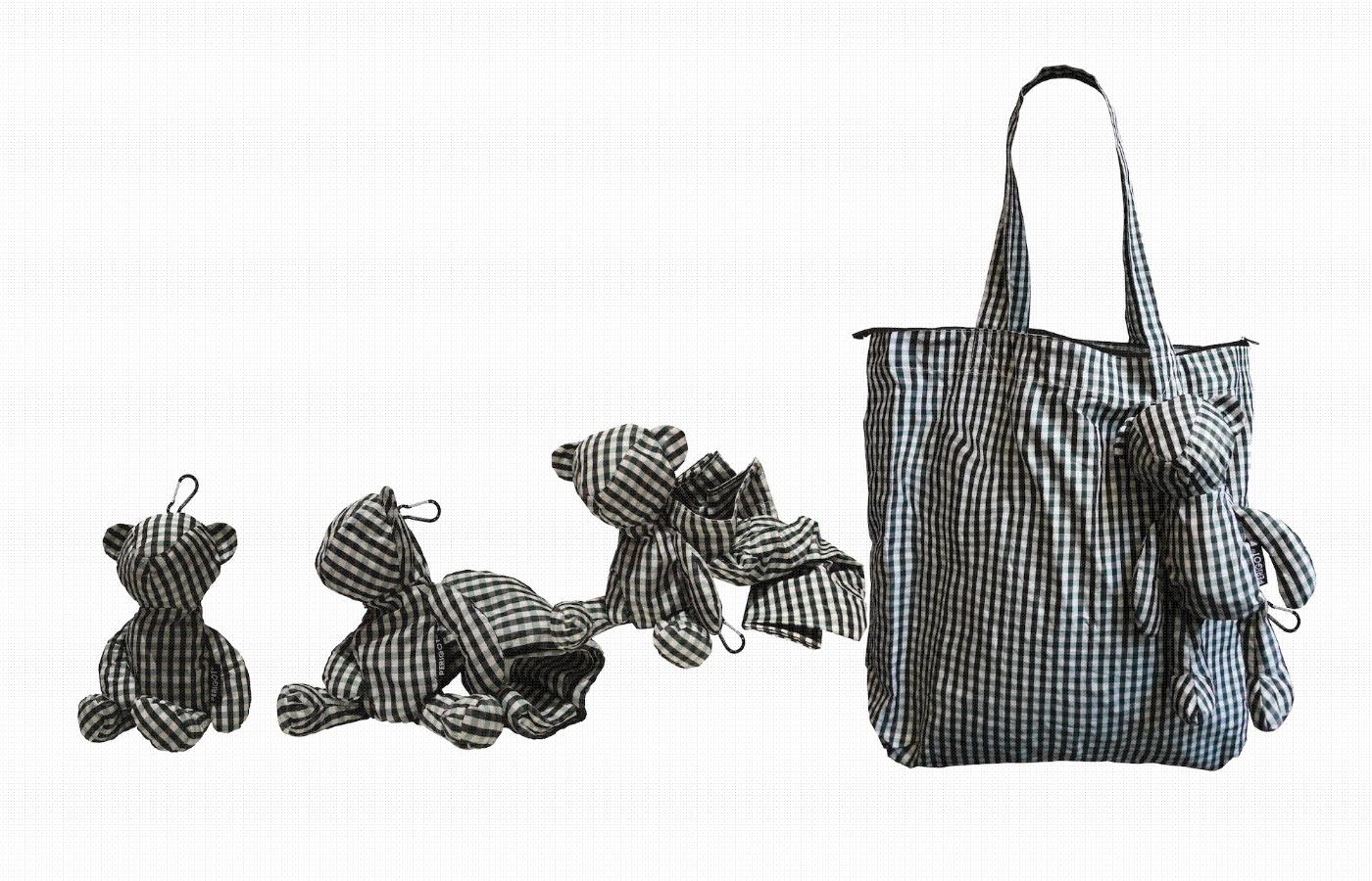 61d49cd6c03 PERIGOT - The Original Bear Bag Shopper in Vichy Blue Bear size  Small  15cm