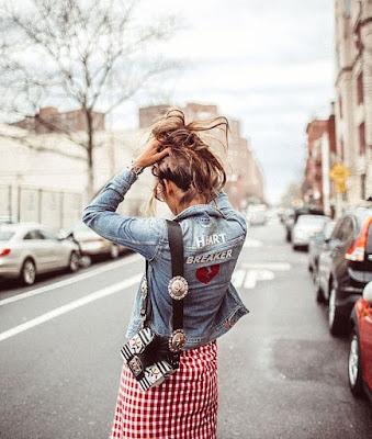 Jaqueta Jeans e Saia Vichy