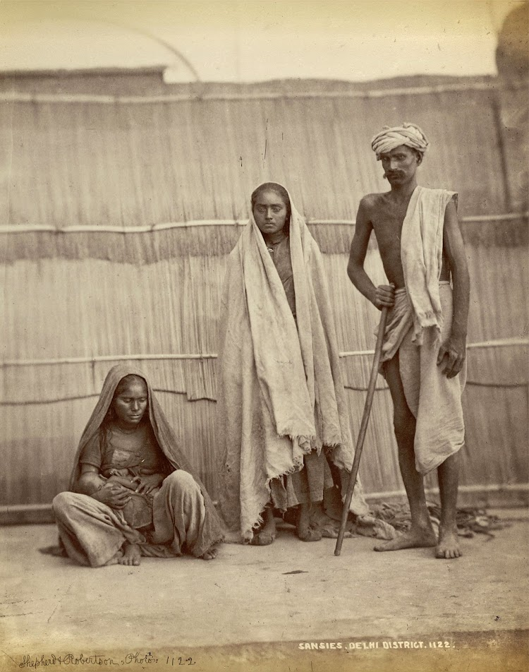 Two women and a Man of the Sansi Tribe - Delhi District 1863