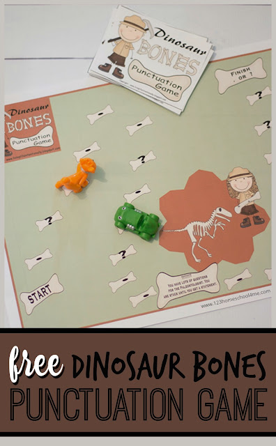 FREE Dinosaur Bones Punctuation Game - A fun, free printable game for kids to practice punctuation for Kindergarten, first grade, and 2nd grade kids. This is way better than punctuation worksheets.