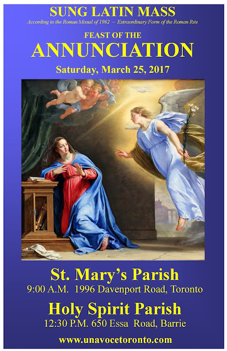 Annunciation Latin Masses Toronto and area - First in Barrie in over 50 years!