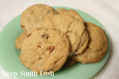 A crisp cookie, made with butter and shortening, brown sugar and pecans.