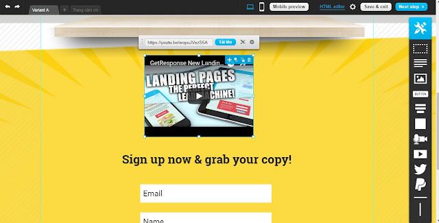 Hướng dẫn sử dụng GetResponse 2019 - Tạo Landing Pages