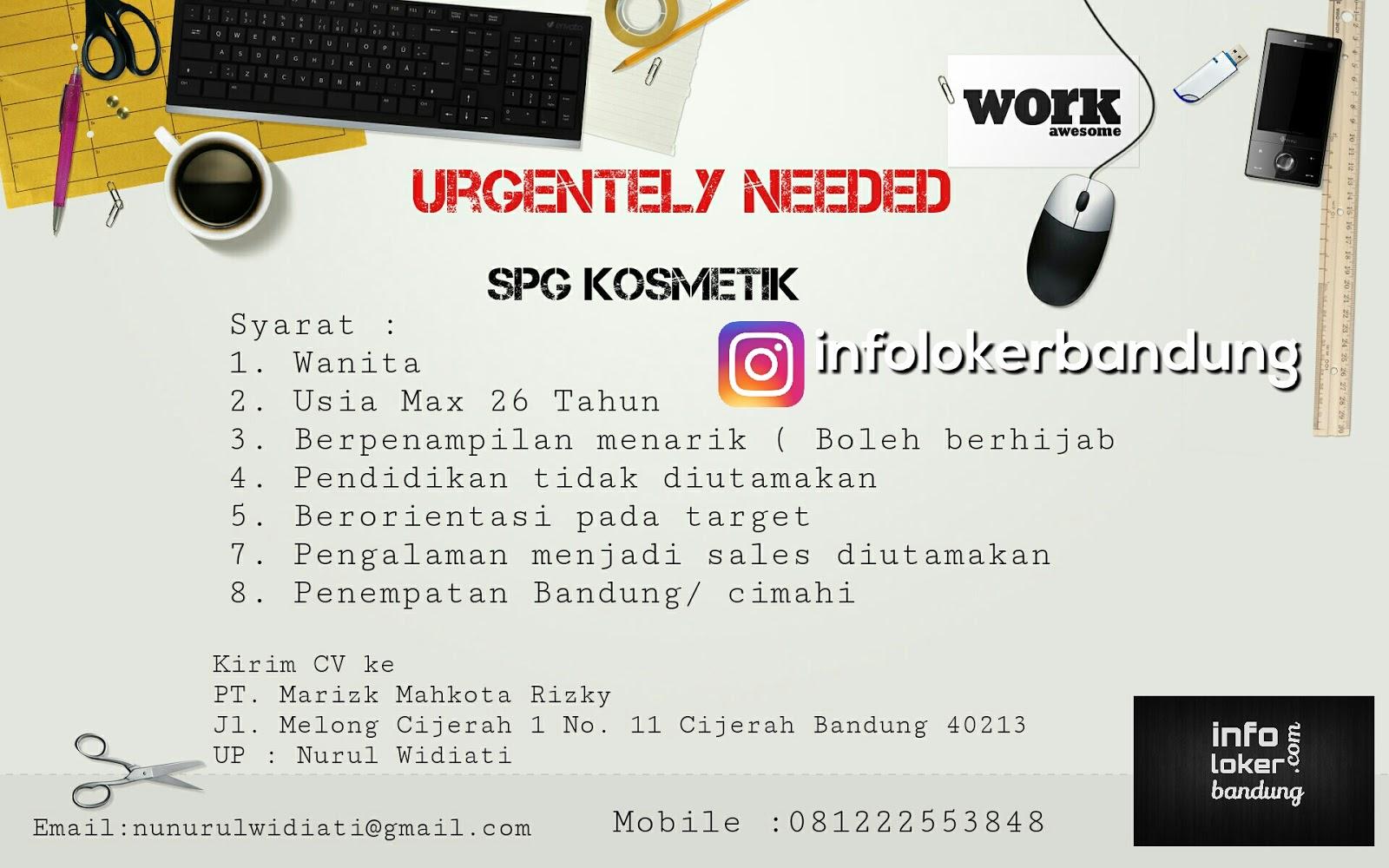 Lowongan Kerja SPG PT. Marizk Mahkota Rizky Bandung Juni 2017