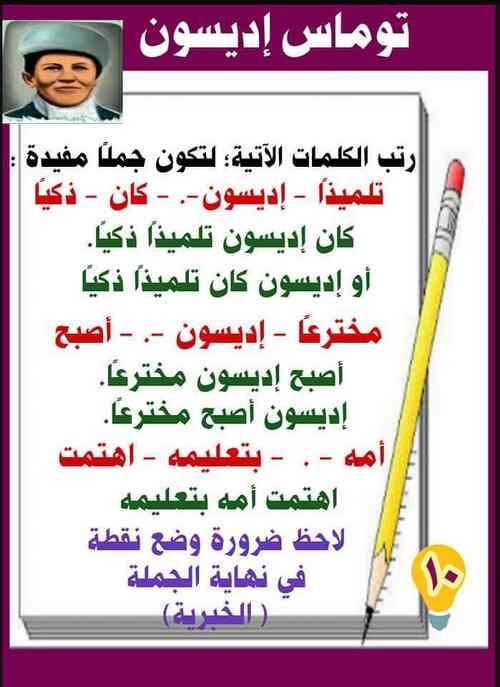 شرح درس توماس اديسون لغة عربية الصف الثانى الابتدائى المنهج الجديد تواصل ترم أول 2020 - موقع مدرستى