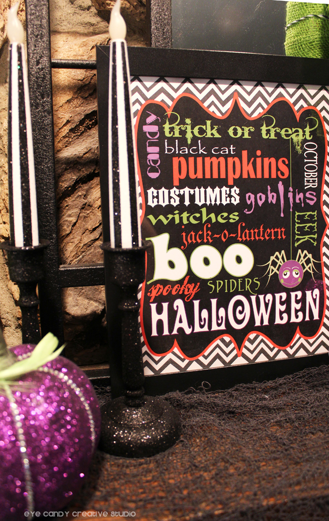 black & white stripe candles, halloween subway art, BOO, framed art