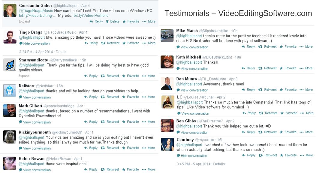 Testimonials Best Video Editing Software