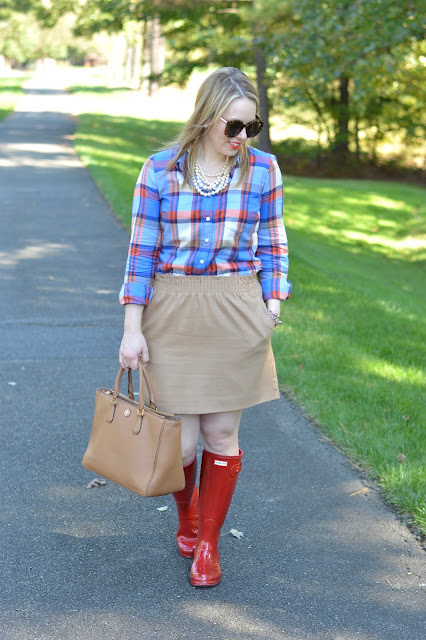 plaid-shirt-camel-skirt-outfit