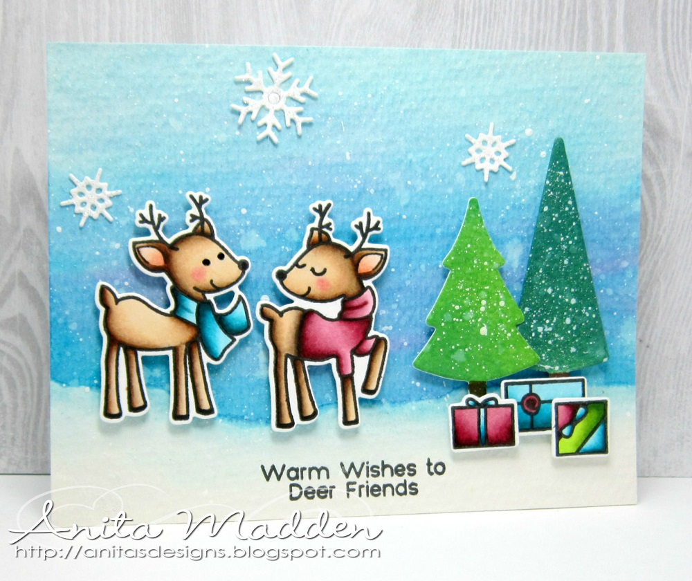 Just a pigment of my imagination warm wishes to deer friends good morning i hope youre having a great week so far today im sharing a christmas card i made using some stamps and dies from the greeting farm m4hsunfo