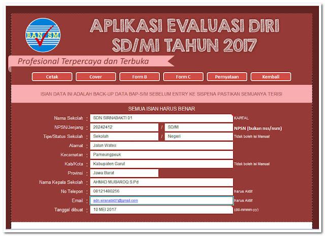 Aplikasi EDS SD/MI Versi Tahun Pelajaran 2017/2018