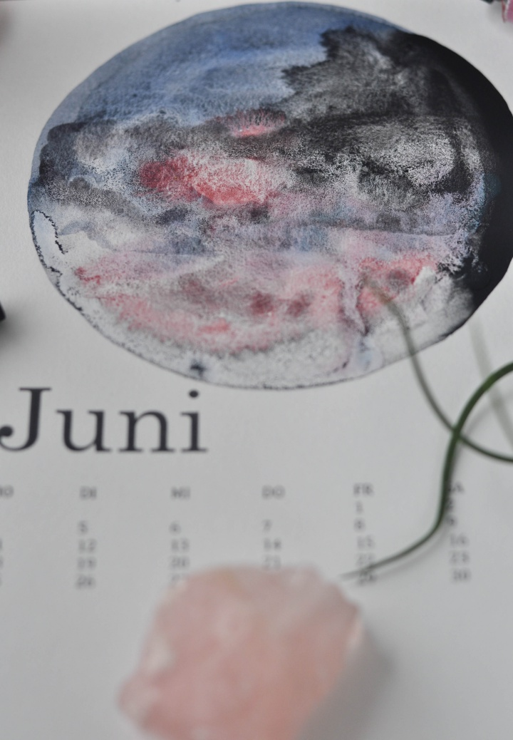 beautiful DIY Calendar with watercolor galaxies and moons, a special gift for a great new year