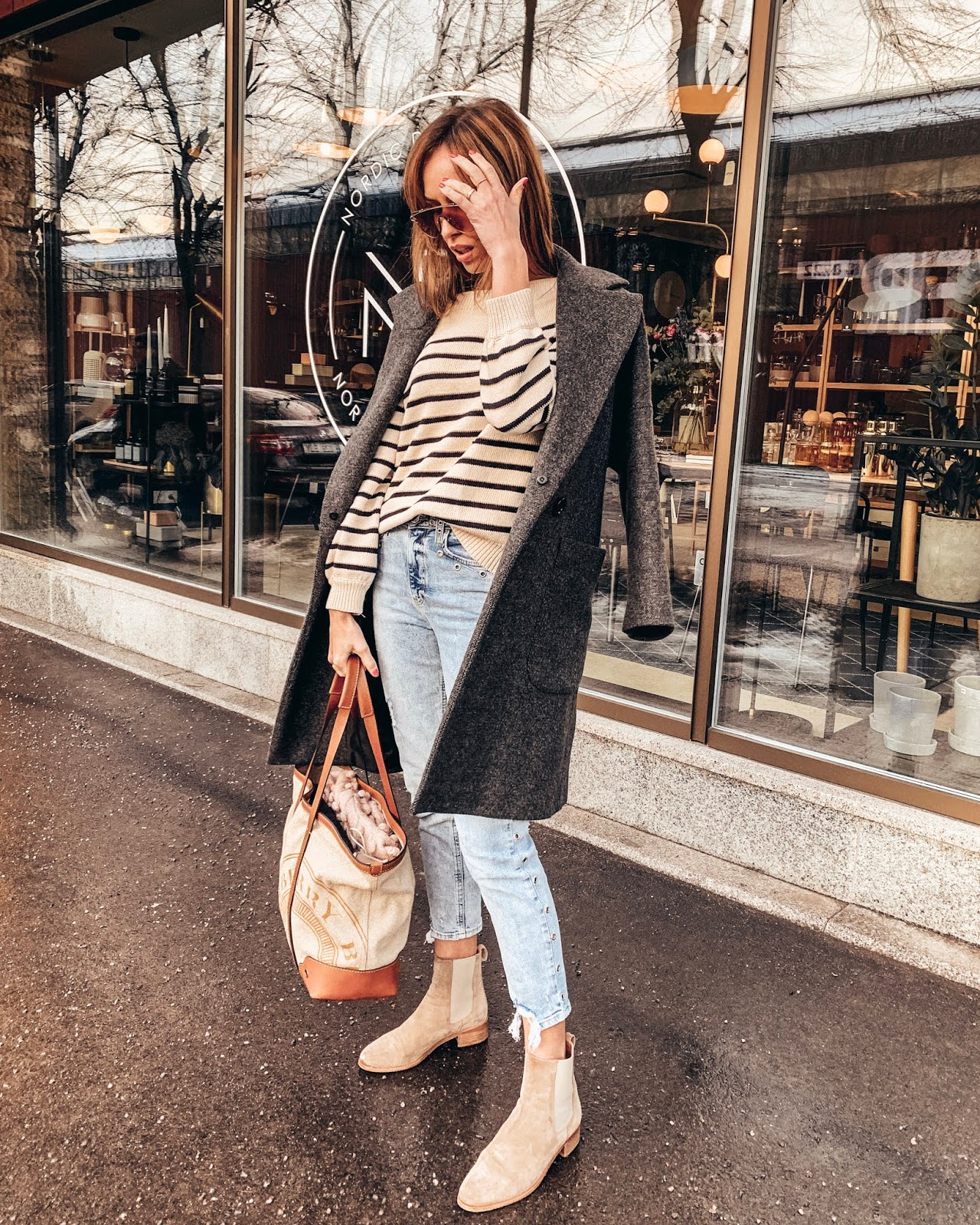 grey oversized coat striped jumper blue jeans beige suede chelsea boots burberry tote minimal outfit