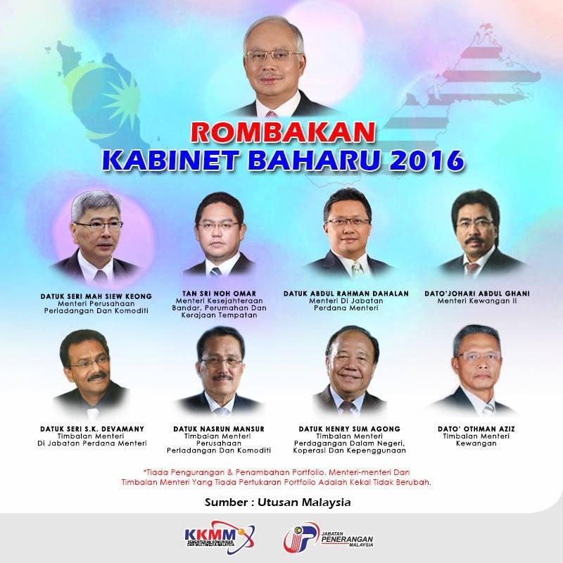 rombakan kabinet malaysia 2016