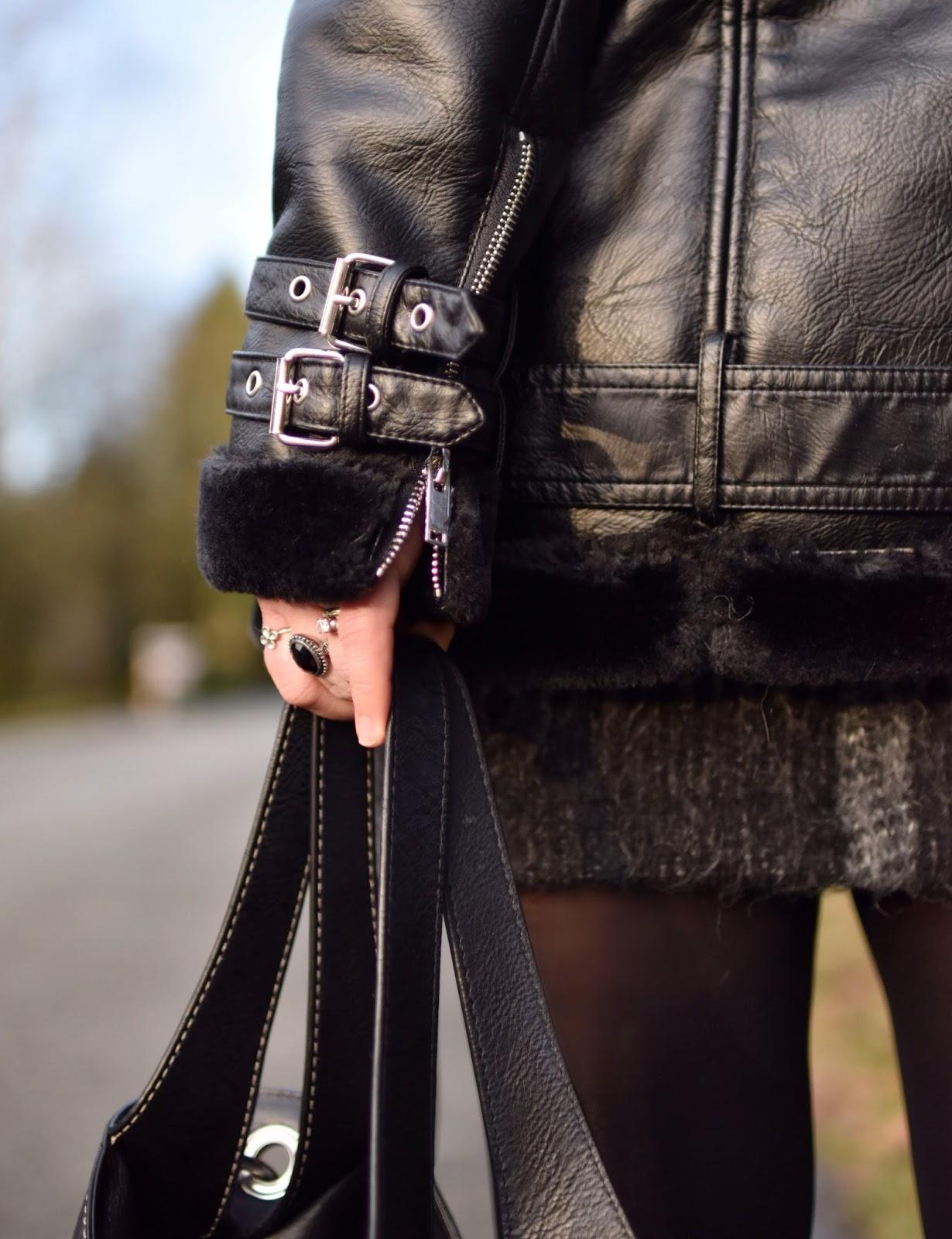 Monika Faulkner outfit inspiration - mohair miniskirt, moto-inspired coat