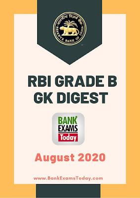 RBI Grade B GK Digest: August 2020