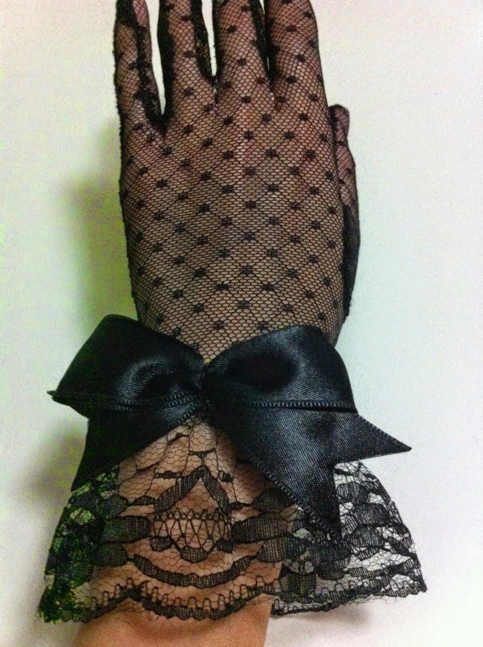 siyah eldiven gece eldiveni tül fiyonk puanlı